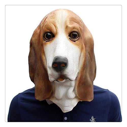 Z-one 1 Border Husbandry, Hund, Welpe, Collie, Halloween-Kostüm, Alpaka, Latex, Tierkopfmaske (weiß und braun)