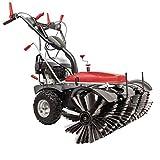 Scheppach Kehrmaschine SC2200PE (6,5 PS, Kehrbreite 100cm, 70 L Auffangbehälter, Elektro-Start, 3 Vorwärts & 1 Rückwärtsgang, Schneefräse) inkl. Auffangbehälter und 105 cm Schneeschild