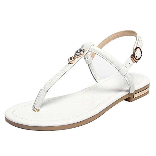 COOLCEPT Damen Mode-Event Knochelriemchen Flops Slingback Flach Flip Flops Schuhe White