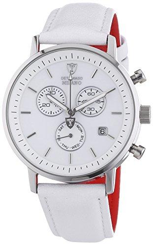 Detomaso Milano – Reloj de cuarzo para hombres, con correa de cuero de color blanco, esfera blanca