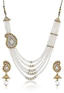YouBella American Diamond Pearl Traditional Necklace Set for Women Party wear Jewellery Set for Women