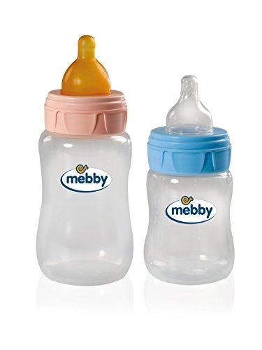 MEBBY Biberon in vetro con valvola anticolica lattice Blu 180 ml