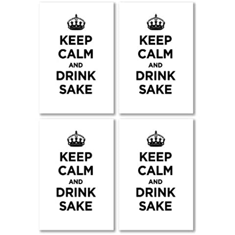 Confezione di Adesivi in Vinile lucido: Keep Calm Drink sake Bianco Tinta Unita incolore WW2WWII parodia cartello (4adesivi, 10,5x 7/4.1x 2.8in) - Drink Sake