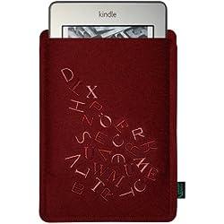 Krings Fashion Filztasche für Kindle und Kindle Paperwhite 6 Zoll, Filzfarbe bordeaux, bestickt mit Stickmotiv Buchstabensalat