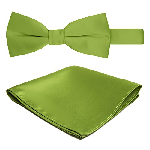 Jacob Alexander Solid Color Men's Bowtie and Hanky Set - Apple Green (Button-down-tuxedo)