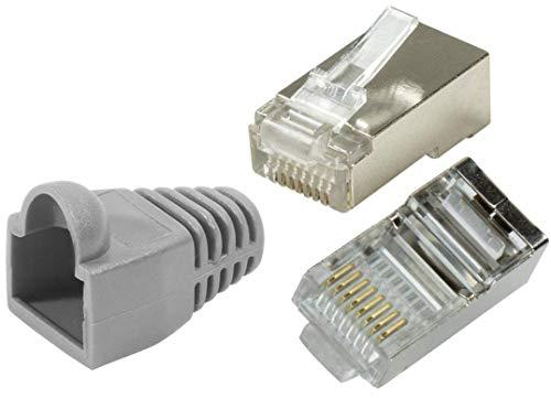 odedo® 20er Pack Crimpstecker CAT6 / 5e Metall geschirmt mit Knickschutz-Hülle, Crimp Stecker Netzwerk Lankabel Netzwerkstecker RJ45 Kat6 Kat5e, Modular Plug Shielded Connector (Grey) -