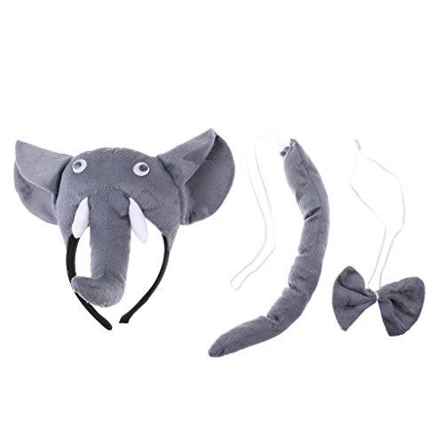 Sharplace 3pcs Plüsch Elefant Kopf Haarreif, Fliege und Schwanz Set für Kinder Karneval Cosplay Party Kostüm