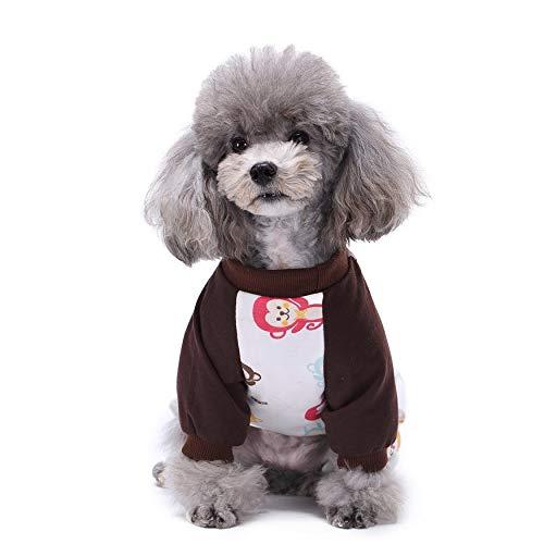 Haustiere Super Hunde Kostüm - Yaoaoden Nette gedruckte Haustier-Kleidung Kleiner Hund-Overall-Chihuahua-Pyjamas-Haustier-Hoodie-Mantel für Hunde Katzen super weiches warmes Hündchen-Kostüm