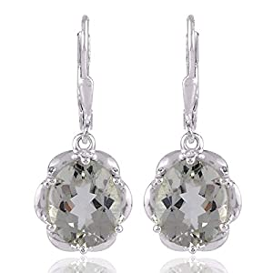 Green Amethyst 925 Sterling Silver Dangle Earrings Fashion Jewelry