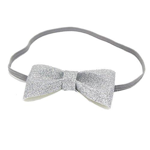 Stirnbänder Transer® Baby Unisex Stirnband Halten Kopf Bowknot Sterne Haarband Babyschmuck Babygeschenke & Taufe Größe: 2 Monate zu 4.5 Jahren altes Baby (Silber)