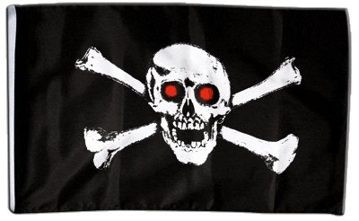 Fahne Flagge Pirat mit roten Augen 30 x45 ()