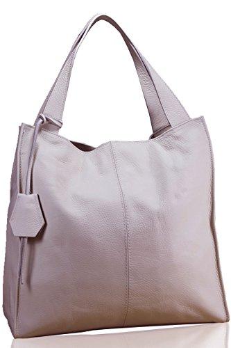 FERETI Grande borsa a tracolla rosa chiaro in pelle molto morbida fatto in Italia