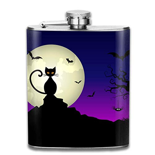 ss Steel Flask Cartoon Halloween Night Fashion Portable Stainless Steel Hip Flask Whiskey Bottle for Men and Women 7 Oz ()