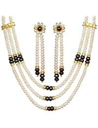Trendy Souk --- Fascinating Triple Strands--- White and Black AAA Quality Necklace with two strings Dangle earrings, Real FreshWater Hyderabadi Pearls, FREE Gift Box