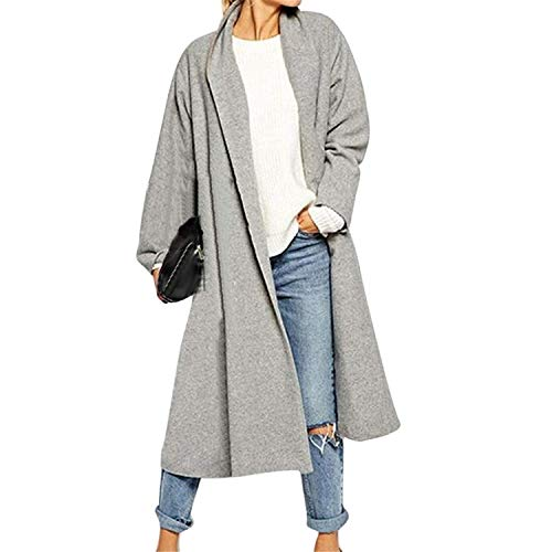 GOMUKHIMARKET XXLarge Grey Women Plus Size Long Cloak Jackets Open Front Trench Coat Ove