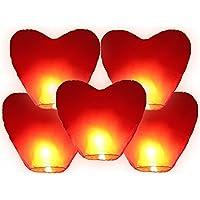 Sky Lantern - Lámpara china voladora, con diseño de corazón rojo
