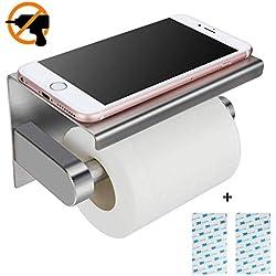 Porte Papier Toilette, KidsHobby Porte Rouleau Papier toilettes sans percage Derouleur Papier WC mural, Acier Inoxydable 304, Adhésif 3 M Autocollant
