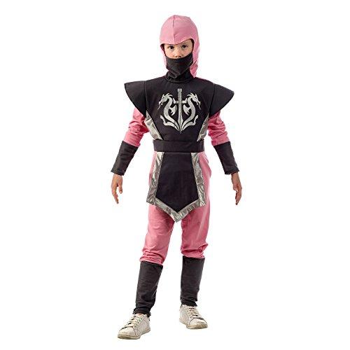 Ninja Krieger Kostüm Kinder 2tlg. Overall mit Kapuze für Karneval Fasching grau rosa - 5/7 Jahre