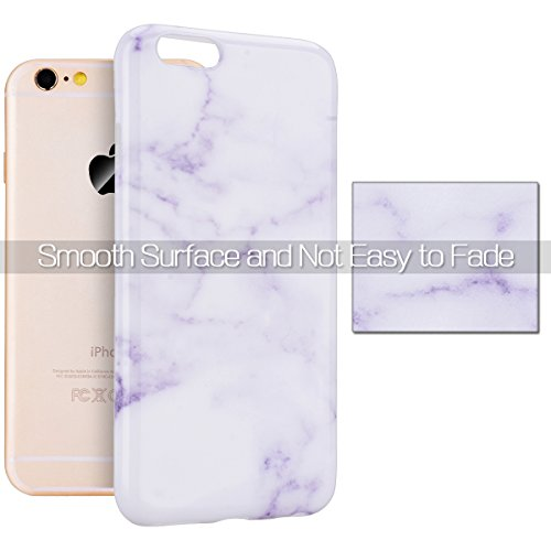 Coque iPhone 6S Plus Marbre, Housse iPhone 6 Plus Marble Silicone, GrandEver Ultra Mince TPU Souple Silicone Back Case Motif Noir Blanche Flexible Soft Case Etui Caoutchouc Gel Couverture Cas Protecti Violet Blanche