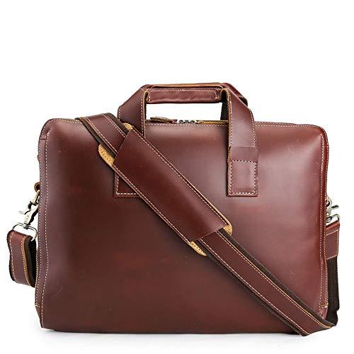 Herren Umhängetasche Büro Burgund Vintage Style Leder Crossbody Handtasche Mann Business Aktentasche 15,4 'Notebook Casual Bag für Schule und Arbeit -