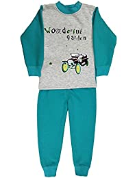 Miss U Baby Boys Baby Girls High Quality Night Suit Regular Comfort Fit Full Sleeves Winter Wear Cotton Blend Top and Pyjama Set with Inner Fur (Grey Blue, 55 (1-2 Years))