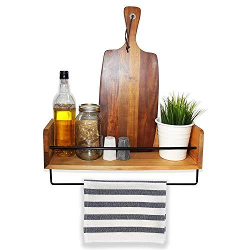 Küchenregal rustikal Landhausstil - Hängeregal - Wandregal für die Küche - Wandboard Holz- Schweberegal - Hängeboard, perfekt für Schlafzimmer, Wohnzimmer, Badezimmer, Büro mit Metallschiene
