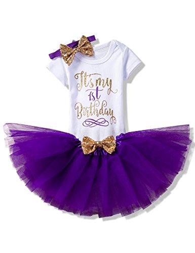 NNJXD Mädchen Neugeborene Es ist mein 1. Geburtstag 3 Stück Outfits Strampler + Rock + Stirnband Größe (1) 1 Jahre Lila