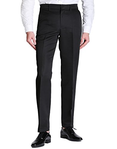 Herren Chino-Hose Lange Freizeithose Business Hose Casual Stoffhose Regular Fit Schwarz (Casual Hosen Business)