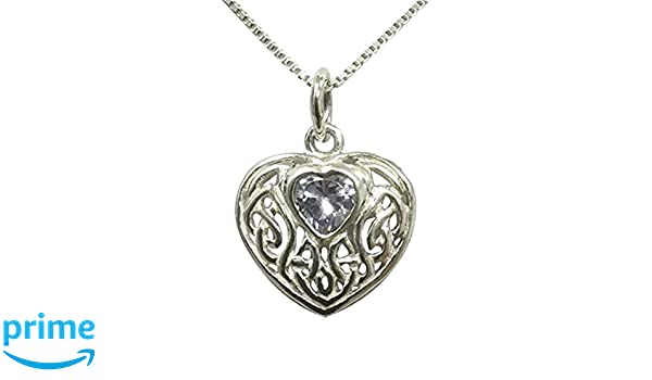 Sterling Silver Pear-shaped Celtic Knotwork Necklace Set With Alexandrite Cubic Zirconia - June