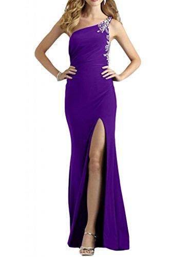 Toscane mariée glamour one shoulder de strass et de perles en mousseline de ferme party ballkleider abendkleider de long Violet - Violet
