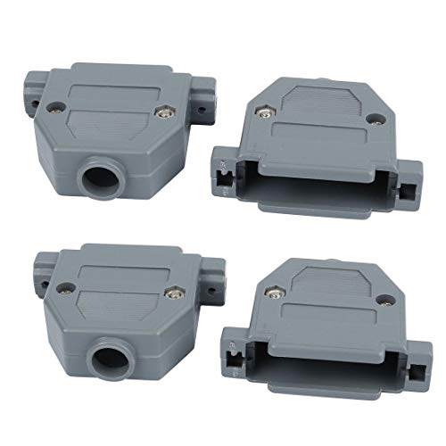 Kunststoff-cover Assembly (ZCHXD 4pcs DB25 Male/Female Port D-Sub Connector Kit Cover Housing Assembly Shell Plastic Hood Gray)