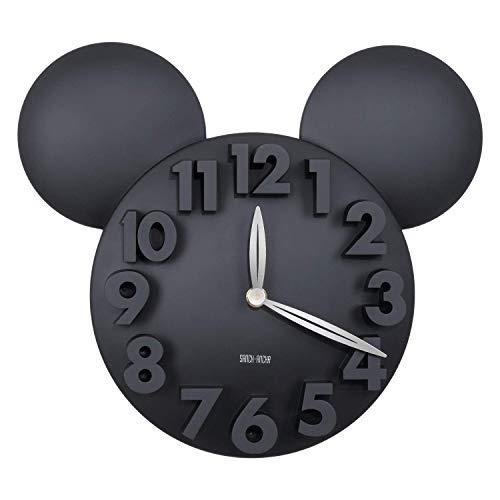 418SrlWQHbL - Sanch Ancha Mickey Mouse - Reloj de Pared con Pilas, para decoración del hogar, para habitación de niños, 3D, 3D, 3D, 31,75 cm, Color Negro