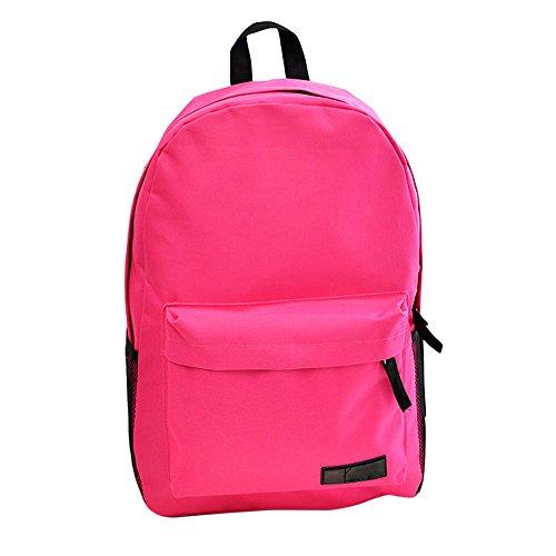 TIFIY Damen Mädchen Beiläufig Reisen Wandern Solide Einfach Stil Segeltuch Leinwand Rucksack Schulranzen Pink