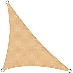 Cool Area Toldo Vela de Sombra triángulo rectángulo 3 x 3 x 4.2 Metros protección Rayos UV, Resistente y Transpirable, Color Arena