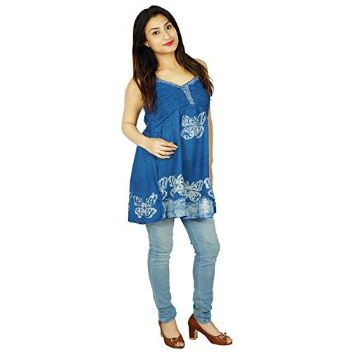 Ärmel Top über Knie-Längen-Frauen tragen Batikdruck Rayon-Kleid Blau und Off White