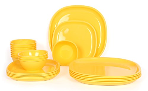 Gluman Microwave Safe Dinner Set - 24 Pcs Square Yellow  available at amazon for Rs.1122