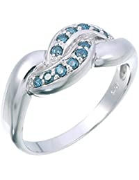 Sterling Silver Blue Diamond Ring (1/5 CT)