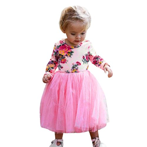 OverDose Nettes Kinder Baby Mädchen Lange Ärmel A-Linie Blumendruck Prinzessin Tutu Kleid Party Kleid Daily Lässig Täglich Kleid Outfits Kleidung(24 Monate,Rosa)