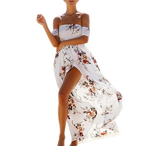 Bekleidung Damen Kleider,TWBB Sommer Ärmellos Lose Chiffon Schulterfrei Strand Blumendruck lang Reich Knöchellang (M, Weiß) (Weiß Plus Size Strand-kleid)
