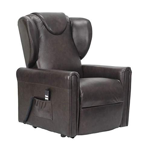 Sillón-Italia - Importante sillón reclinable con 2 Motores, Elevador de Persona, Asiento indeformable, cómodas Orejas Laterales, de Piel, Medidas: Media - Sillón Barbara-M-2MP-O