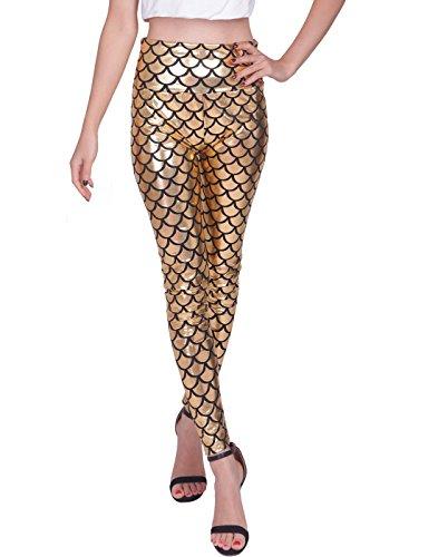 HDE Damen Leggings, glänzender Metallic-Look, Fischschuppen-Muster / Meerjungfrauenschwanz, hohe Taille, Stretch Gr. L, gold -