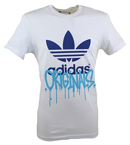 Adidas - City Trefoil T-Shirt A Manica Corta Da uomo, Colore Bianco/Blu, Taglia XS