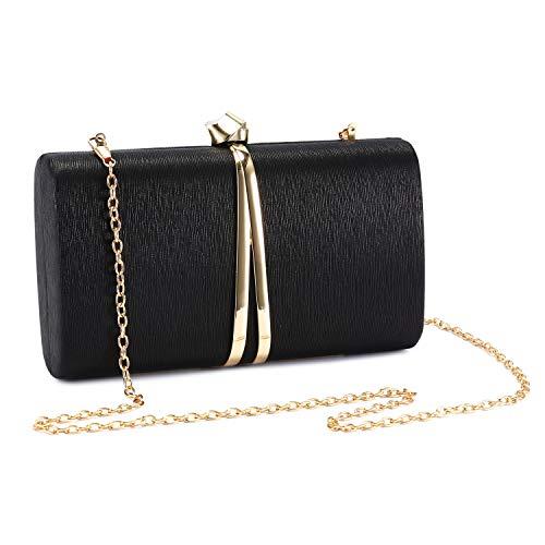 UBORSE Bolso de Fiesta Noche Moda para Mujer Embrague Hard Shell Clutches Elegante Bolso de Hombro Billetera Carteras de Mano del Banquete Boda Señoras,Negro