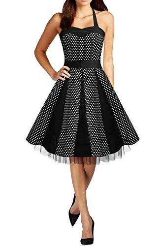 Black Butterfly 'Ivy' 50's Polka-Dots Swingkleid (Schwarz - Kleine Weiße Punkte, EUR 52 - 5XL) (Dot Kleine Polka)