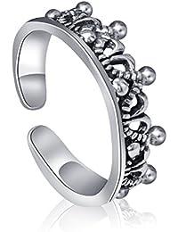"""Plata de Ley 925ajustable anillo abierto 0,6""""dedo anillo nudillos anillo joyería de moda para hombres mujeres (H)"""