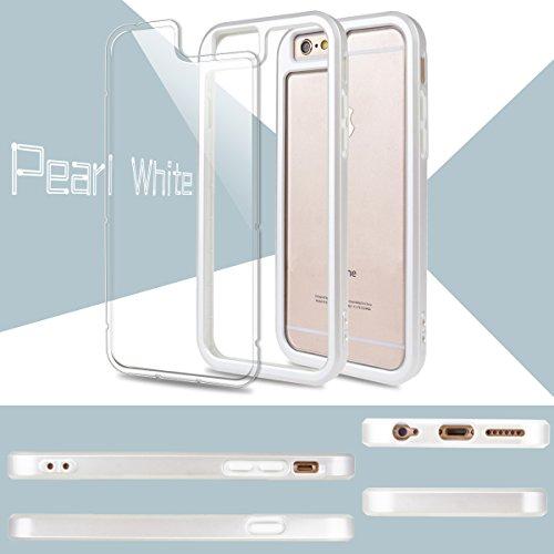 iPhone 6S Hülle, iPhone 6 Hülle, GrandEver Dual Layer Hybrid Rahmen mit Weiche TPU Silikon Bumper + Hart PC Zurück Kombination Transparent Schutzhülle Case Cover Scratch-Resistant Tasche für Apple iPh Pur Weiß