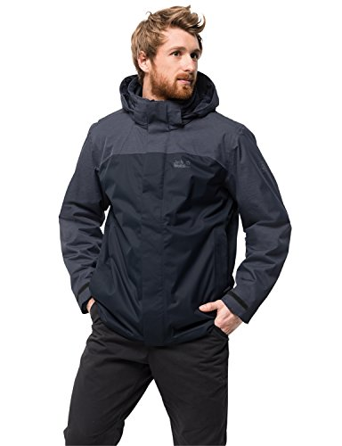 Jack Wolfskin Herren Echo Lake Men 3-in-1-JackeWasserdicht Winddicht Atmungsaktiv 3in1-jacke, Night blau, L