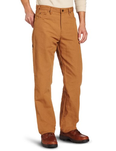 Denim Carpenter Jeans (Dickies Men's Relaxed Fit Duck Carpenter Jean, Brown Duck, 33x30)