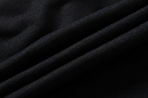 Jeansian Uomo Asciugatura Rapida Sportivo Casuale Slim Sports Fashion Tee T-Shirts Camicie LSL008 Black