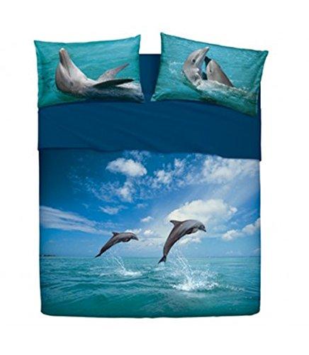 Set Bettwäsche Bett Einzelbett Bassetti Dancing Dolphin Effekt Tagesdecke